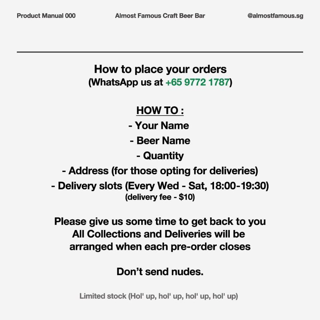cách đặt hàng online, dịch vụ giao hàng của almost famous craft beer bar
