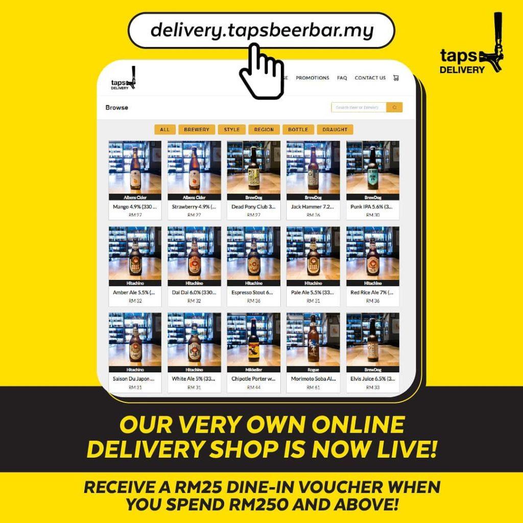 đặt hàng trực tuyến, giao hàng tận nơi, Taps Beer Bar