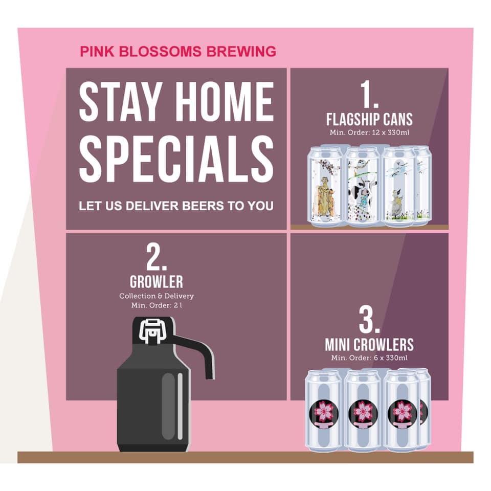 bia thủ công singapore, bia giao tận nơi, pink blossoms brewing