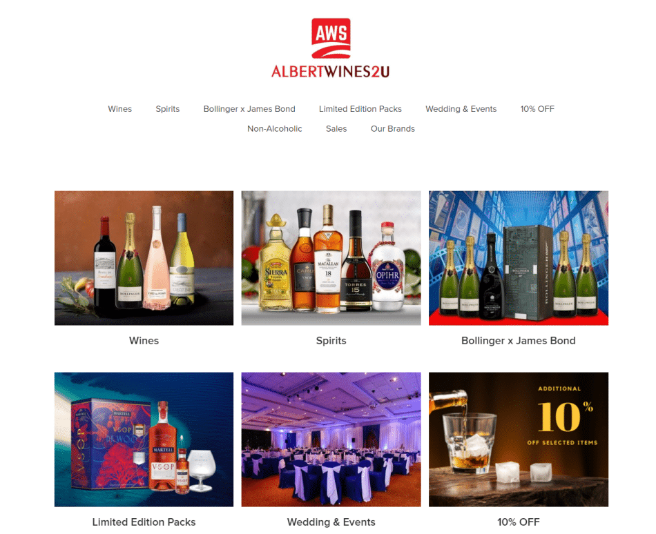 trang trực tuyến đặt cồn, Albert Wines & Spirits